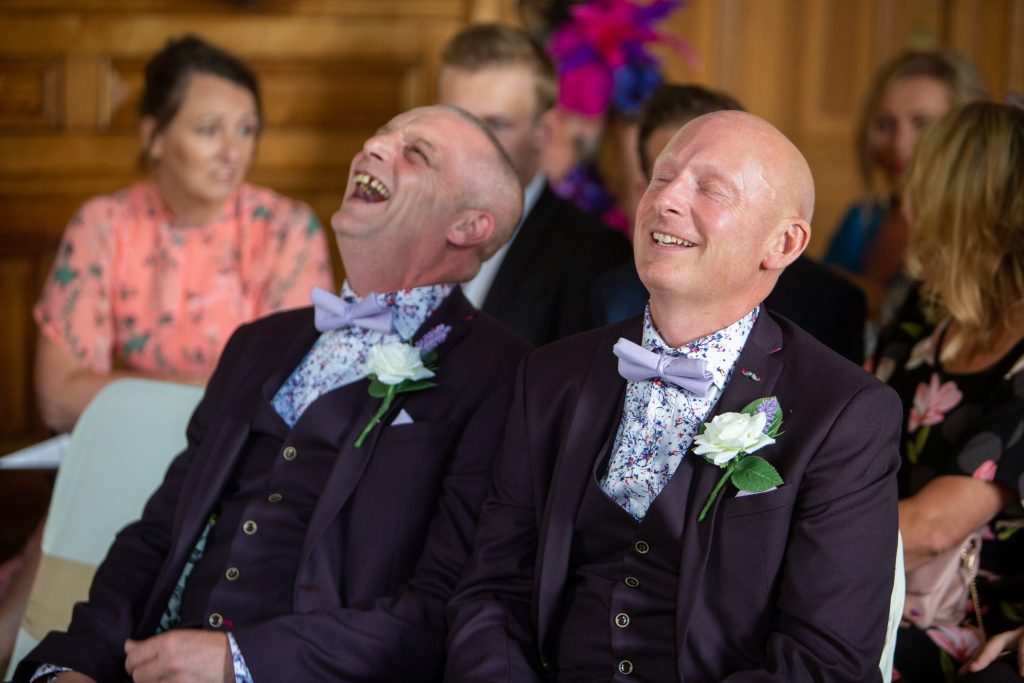 Simon and Best man laughing at Dewsbury Town Hall - Rebecca Fearn Photography